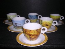 Cup and saucer Dova Van Gogh coffee 140 mm. 6pcs
