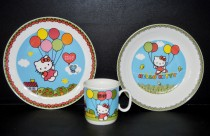 "A baby kit, decor ""Hello Kitty"" 3 piece."