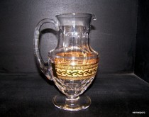 Gold plated crystal pitcher 1.5 liter 24% PbO.