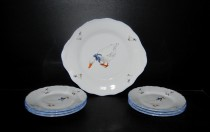 Cake set, goose china, 7 pieces.
