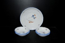 Compote set, goose porcelain, 7 pieces