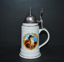 Tankard with pewter lid decor Krakonos 0.6 liters.