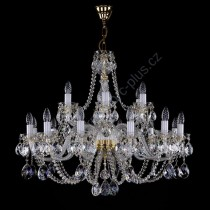 Chandelier Exclusive 2-storey 18-spoke 16L134CE18 82x70cm plated chain