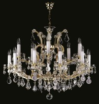 Crystal Chandelier Maria Theresa 13L410CL15 75x68cm, 2-storey, 15-spoke, gold-plated chain