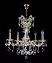 Crystal Chandelier Maria Theresa 15L407CL5 60x60cm, 5-spoke, gold-plated chain