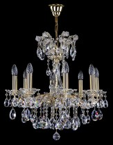Crystal Chandelier Maria Theresa 16L408CL8 60x60cm, 8-spoke, gold-plated chain
