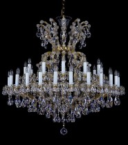 Crystal Chandelier Maria Theresa 17L398CL37 120x120cm, 2 storey, 37-spoke, gold-plated chain