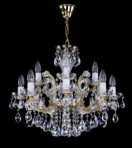 Crystal Chandelier Maria Theresa 1L425CL12 12-spoke, gold-plated chain