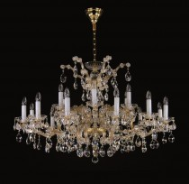 Crystal Chandelier Maria Theresa 21L417CL18 115x73cm, 2 storey, 18-spoke, gold-plated chain