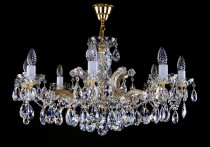 Crystal Chandelier Maria Theresa 2L428CL8 8-spoke, gold-plated chain