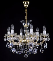 Crystal Chandelier Maria Theresa 3L424CL6 6-spoke, gold-plated chain