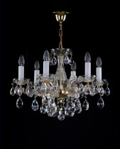 Crystal Chandelier Maria Theresa 5L420CL6 58x43cm, 6-spoke, gold-plated chain