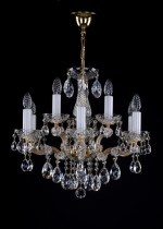 Crystal Chandelier Maria Theresa 6L421CL9 58x48cm, 9-spoke, gold-plated chain