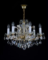 Crystal Chandelier Maria Theresa 7L422CL6 59x45cm, 6-spoke, gold-plated chain