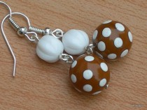 Earrings white dots on a brown base with white bead