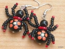 Earrings lucky red spider