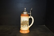 Beer stein with pewter lid 0.5 liters. decor amur