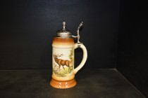 Beer stein with pewter lid 0.5 liters. decor deer I.