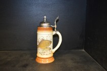 Beer stein with pewter lid 0.5 liters. decor carp