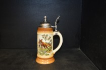 Beer stein with pewter lid 0.5 liters. decor fox