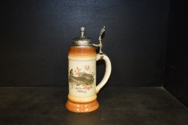 Beer stein with pewter lid 0.5 liters. decor trout II.