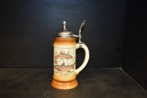 Beer stein with pewter lid 0.5 liters. decor trout