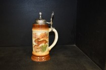 Beer stein with pewter lid 0.5 liters. hare decor