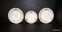 18 piece set of dishes, decor fruit, ivory.