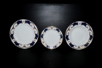 Set of 18 pcs plates, blue-gold decoration with flowers.