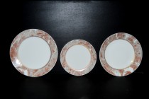 Plate set 18 piece brown marble