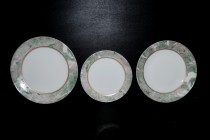 Plate set 18 piece green marble