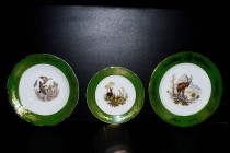 Set of plates Mary Anne 763 hunting, green cobalt.