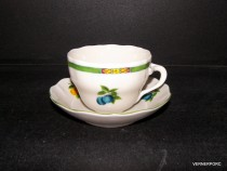 B cup and saucer, fruit decor, 6 pieces of ivory.
