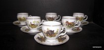 Cup with saucer 0.15 L. Bernadotte Hunting 6 pieces.