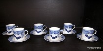 Cup and saucer Cairo Blue 6 pc Cherry.