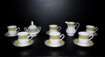 Coffee cup and saucer 6pcs + sugar bowl + milk creamer Mary Anne.