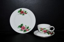 Cup with saucer + plate of dessert Tereza flower