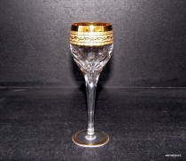 Anna Glass crystal hand cut surface gold liqueur 60 ml. 6 pcs. 24% PbO.