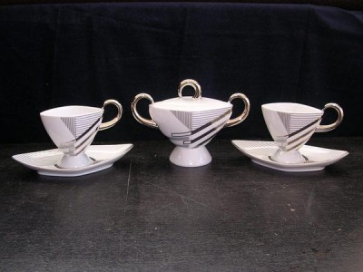 Cup and saucer Excalibur 2 pieces and sugar bowl