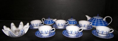 Porcelain tea set galaxy blue 15pcs. + heater. Design Laštovička.