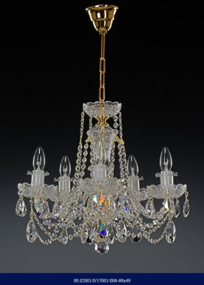 Cut crystal chandelier, six arm  02001/57001/006 69*49
