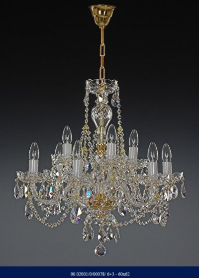 Crystal Chandelier 6 +3 arm 02001/00078/6+3 60*62
