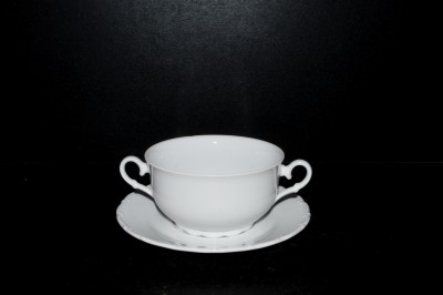 Cup with saucer for soup Ofelie white 0,3l.